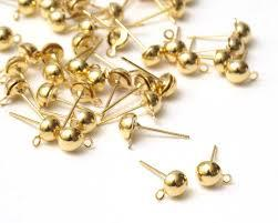 WOT findings. Earring post w/loop. 12 mm. Gold coloured. 12 pack.