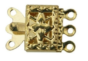 WOT findings. 3-strand necklace clasp. Square. Gold coloured, 12 pack.