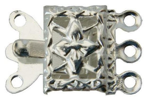 WOT findings. 3-strand necklace clasp. Square. Silver coloured. 12 pack.