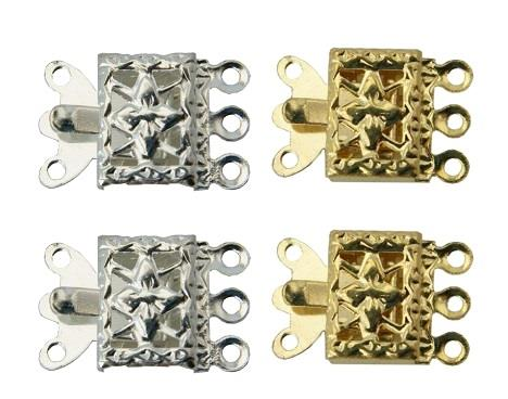 WOT findings. 3-Strand necklace clasp. Square. 4 pack, (2 x silver coloured/2 x gold coloured).