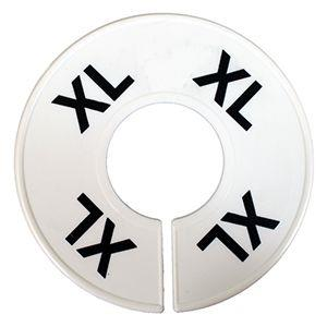 Divider, circle, (donut). 'XL' for X-Large. White. Single.