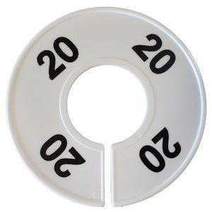 Divider, circle, (donut). '20'. White. Single.