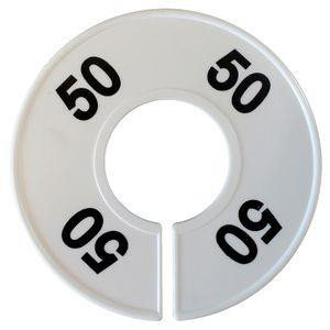 Divider, circle, (donut). '50'. White. Single.