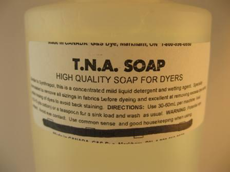 G&S dyes, T.N.A.soap. 500 ml bottle.