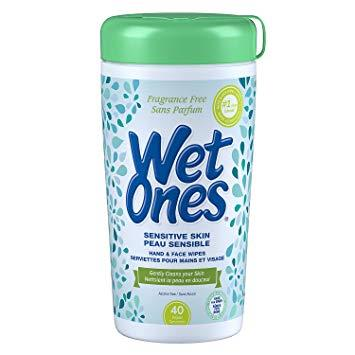 A tub of 40 Wet Ones sensitive skin wipes. Fragrance and alcohol free.