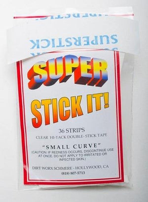 Super Stick It, double sided tape, small curve. 36 strips.