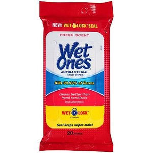 A resealable travel pack of 20 Wet Ones antibacterial wipes