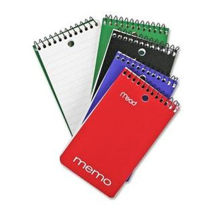 "Mead memo pad, pocket size, 3""x5"". 60 ruled sheets."