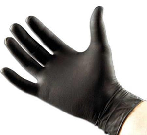 Black Forte gloves, medical, nitrile. 10 pairs. Large.