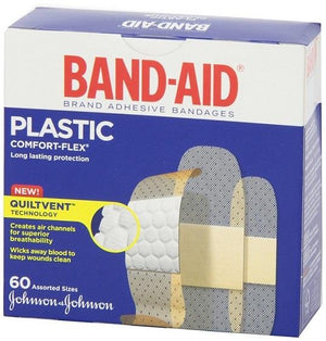 Band-Aid. Plastic. Assorted sizes. 60 pieces.
