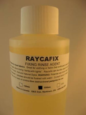 G&S Dyes, raycafix fixing rinse agent. 500 ml. bottle