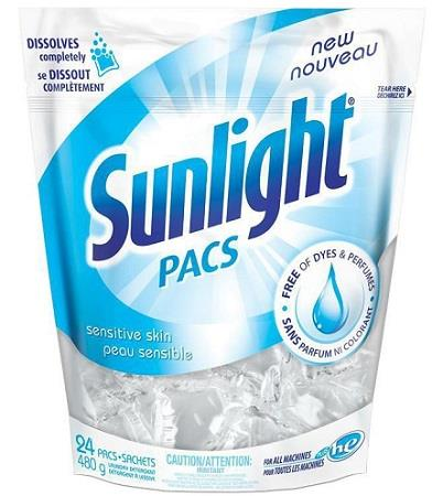 Sunlight detergent, sensitive skin. 24 single pacs.
