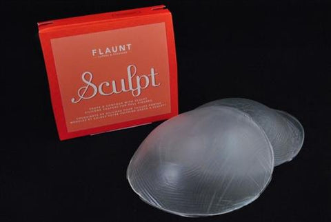 "Flaunt bra insert pad, silicone, ""Sculpt"" style. Clear."