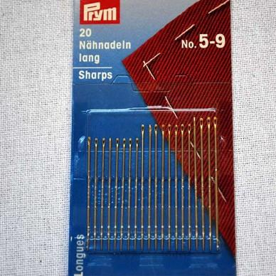 Prym needles, handsewing sharps, #5-9, 20 pack.