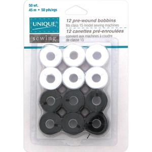 Unique, Pre-wound Bobbins, Black & white, 12 Pack