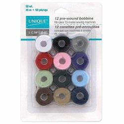 Unique, Bobbins, Pre-wound, 12 pack