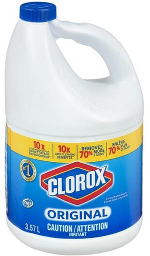 Clorox bleach, concentrated. 3.57 L. jug.