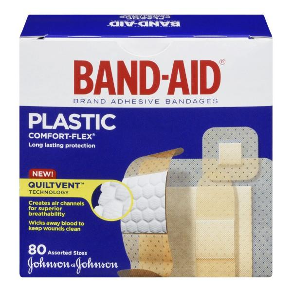 Band-Aid plastic comfort-flex bandages. Assorted sizes. 80 pieces.