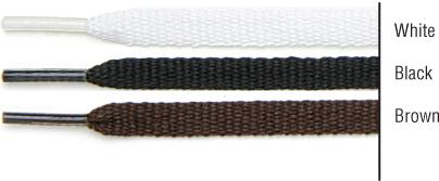 "TexStyle shoe laces, 18"". Flat. Black. 2 pairs."