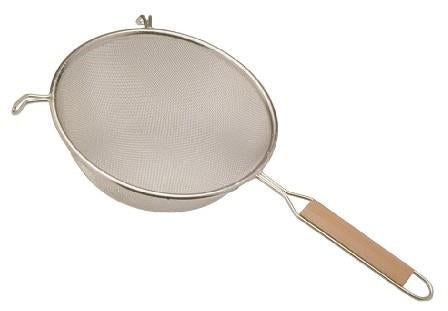 "Al-De-Chef strainer/sieve, metal. 7"" diameter."
