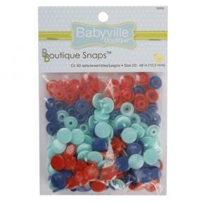 Babyville boutique plastic snaps. Teal/red/blue
