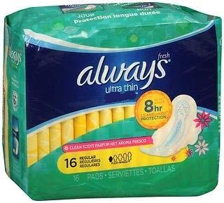 Always ultra thin pads, 18 Pack, regular.