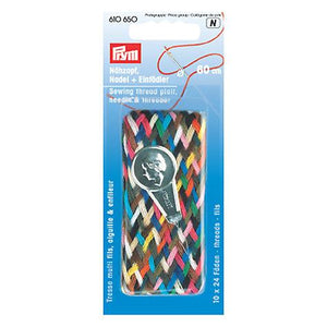 Prym rainbow thread braid with needle, and needle threader.