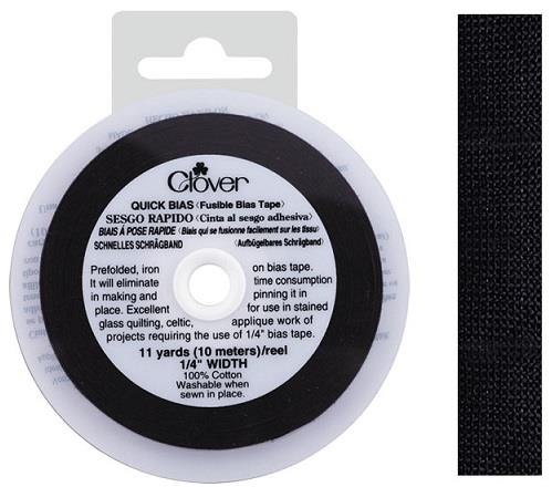 Clover quick bias, fusible tape. Black. 11 yds/10 m x 6 mm.