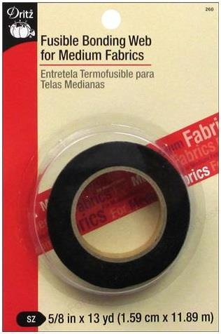 "Dritz, fusible bonding web. 5/8"" x 13 yds, (1.6cm x 11.9m). Medium weight, black."