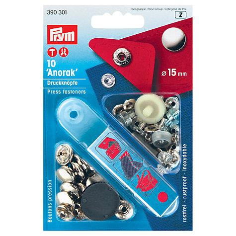 Prym press fasteners kit. 15 mm. 10 pieces. Silver.