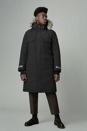 Westmount Parka in black against white background, front