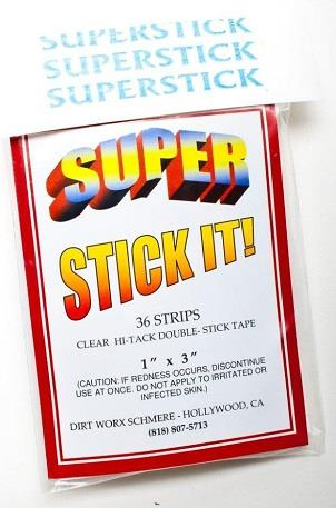 "Super Stick-It, 36 pack, double sided tape, 1"" x 3""."