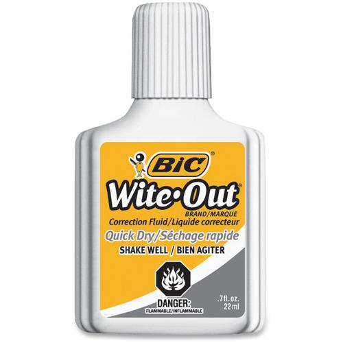 Bic, 22ml Wite Out, w/foam brush applicator.