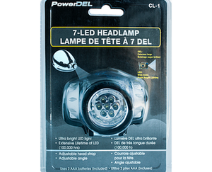 PowerDel 7-LED adjustable, ultra-bright headlamp. Silver lamp with black strap.