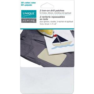 Unique, Iron-On Patch, White, 2 pack