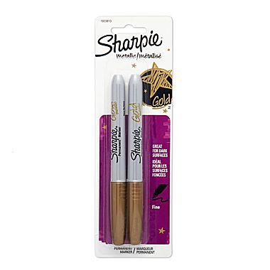 2 pack, Gold/Metallic Sharpies. Fine point.