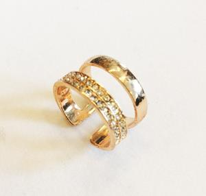 Ring, Gold, Two Ring, Adjustable