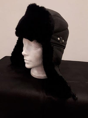 Faux Leather and Fur Aviator Hat