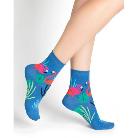 Bleuforet Pink Flamingo Pattern Ankle Socks