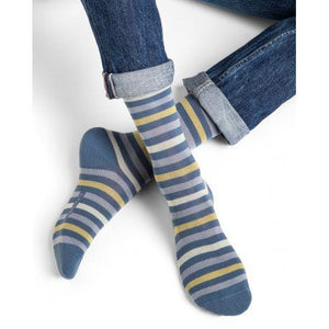 Bleuforet Men's Striped Cotton Socks - Light or Dark