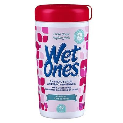 A tub of 40 Wet Ones Antibacterial Wipes