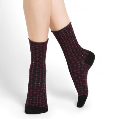Bleuforet Velvet Cotton Diamond Pattern Socks in Prune