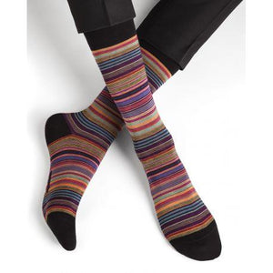 Bleuforet Men's Collection Finely Striped Socks in Orange and Purple
