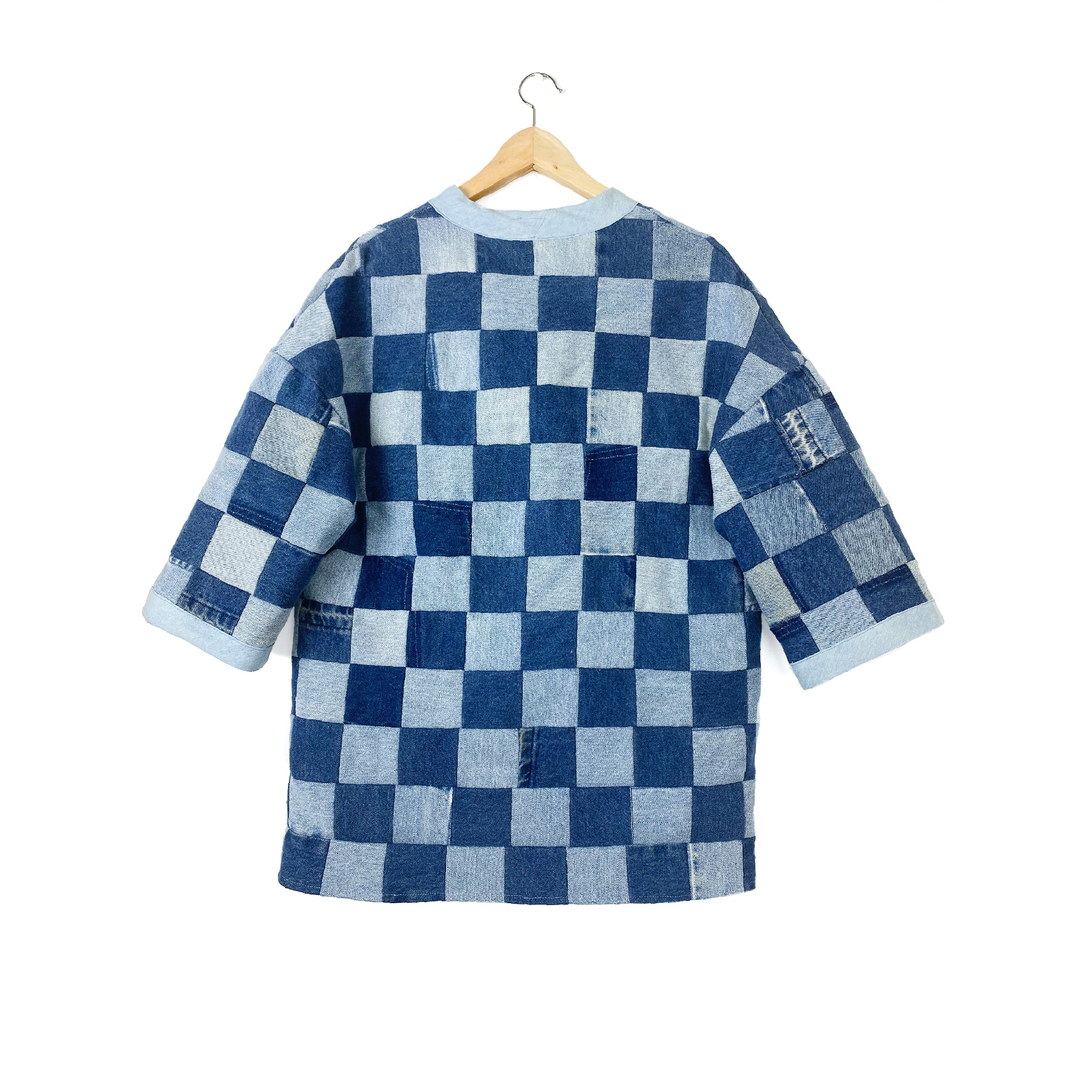 """Patchwork Checkerboard"" Denim  Lounger Jacket - Late to the Party"