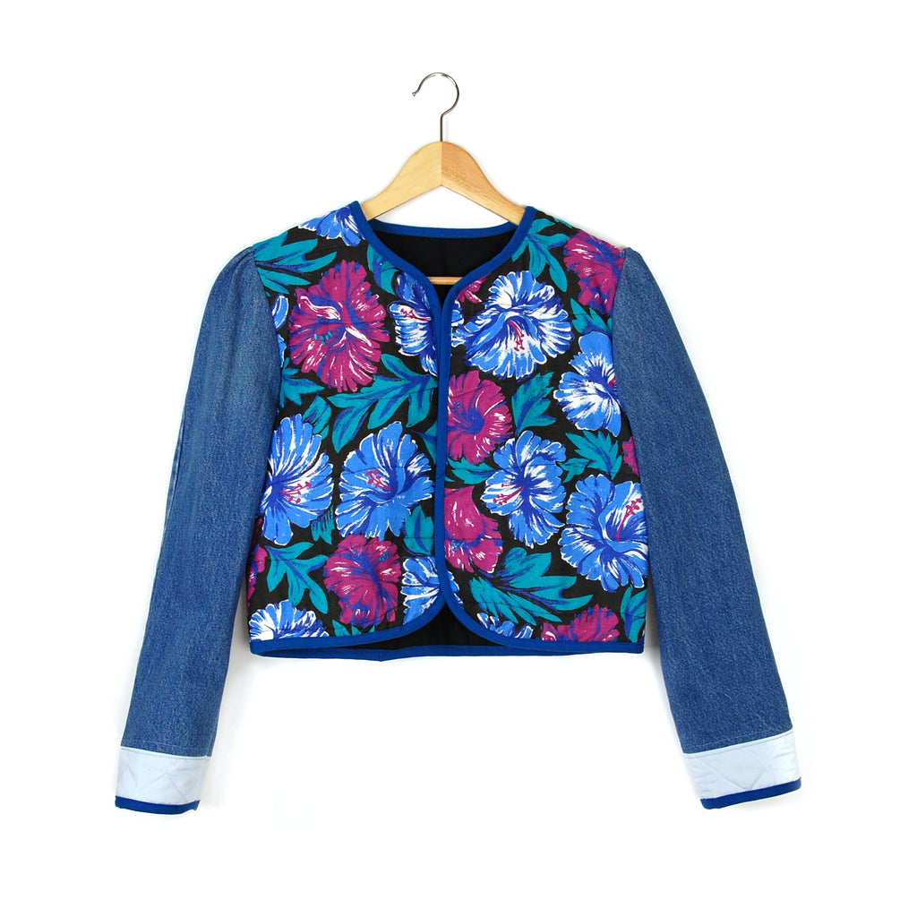 BLUE HIBISCUS 1 QUILTED JACKET - Late to the Party
