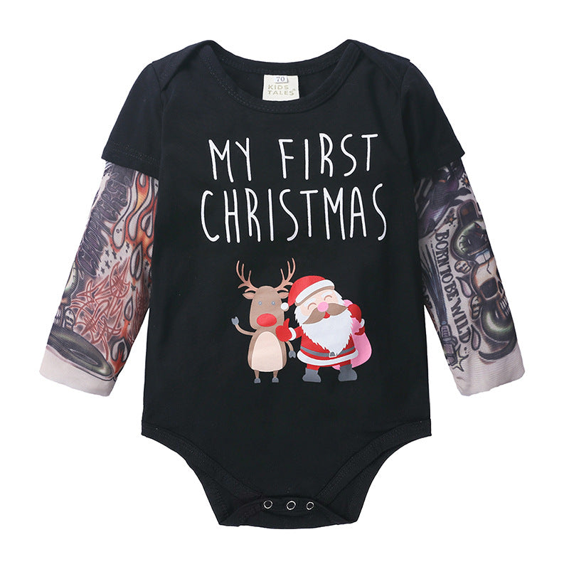 Baby long sleeve tattoo print jumpsuit