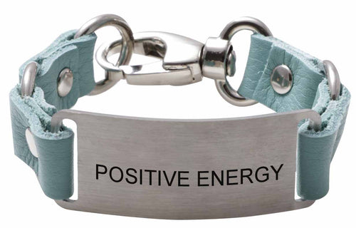 Message Bracelet Aqua Leather Positive Energy