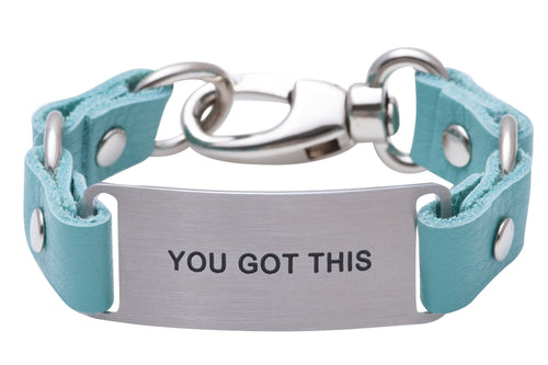 Message Bracelet Aqua Leather You Got This