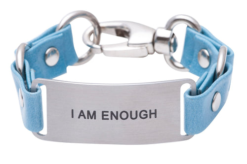 Message Bracelet Azure Blue Leather I Am Enough