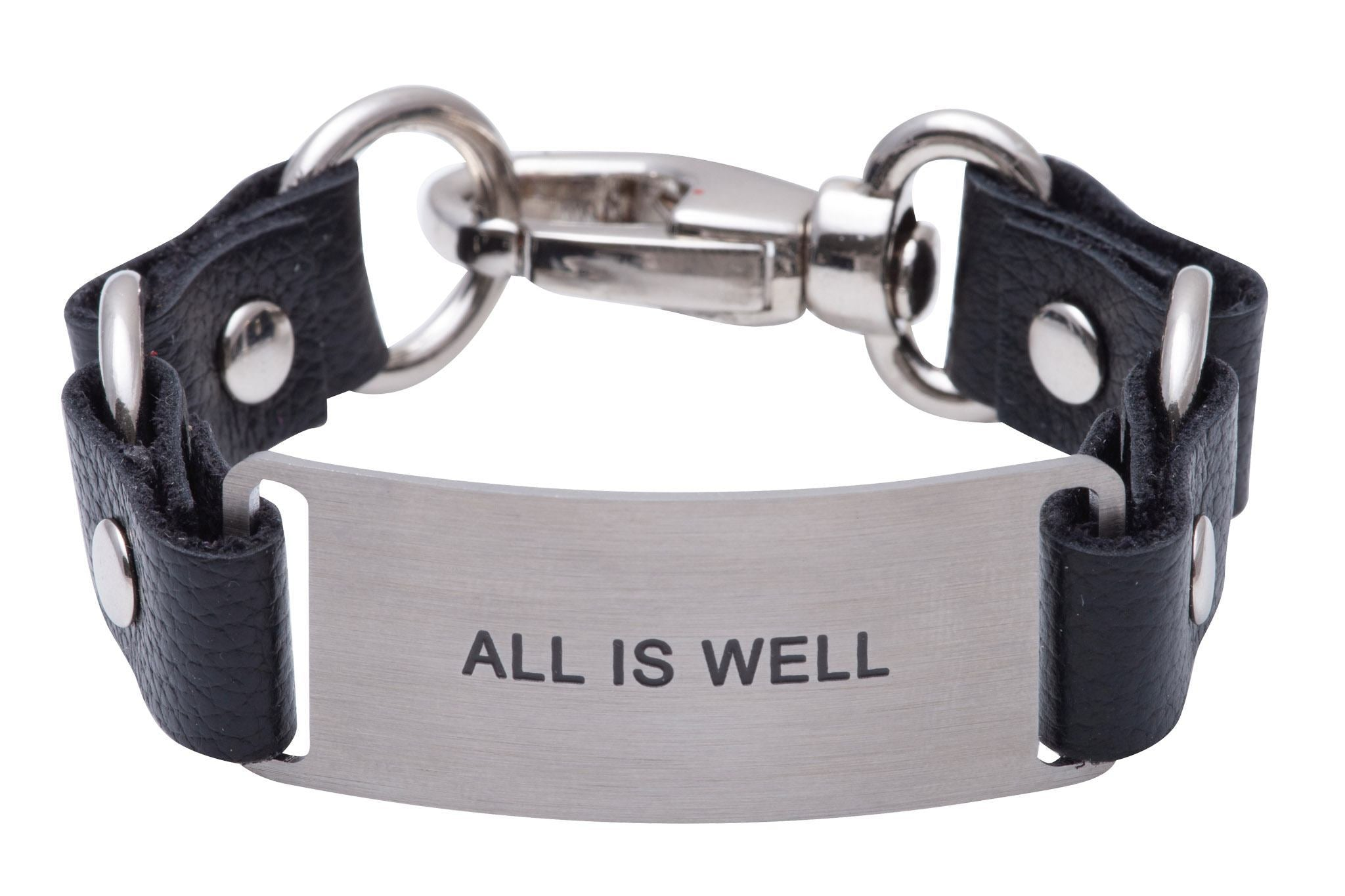 Message Bracelet Black Leather All is Well
